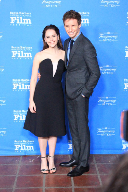 Santa Barbara International Film Festival 2015 Cinema Vanguard award presented to Eddie Redmayne and Felicity Jones image